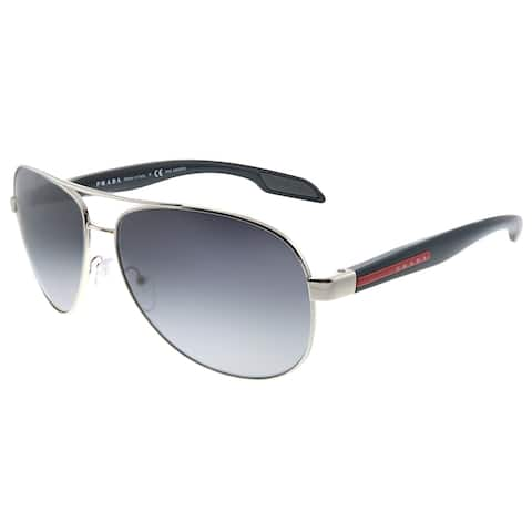 Prada Linea Rossa Lifestyle PS 53PS 1BC5W1 62mm Unisex Steel Frame Grey Gradient Polarized Lens Sunglasses