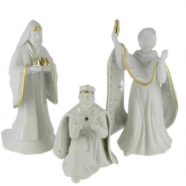 Nativity Set King of Kings Wisemen Gold Trimmed Porcelain Figurines
