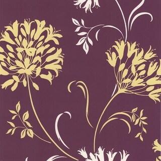 Brewster DL30456 Nerida Purple Floral Silhouette Wallpaper