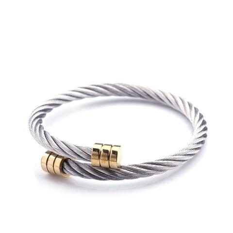 Rope Me In Wrap Cuff Bracelet, Titanium & Gold