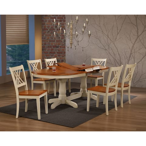 """Iconic Furniture Company 42""""x66""""x78""""x90"""" Oval Antiqued Caramel Biscotti Double X Back 7-Piece Dining Set"""