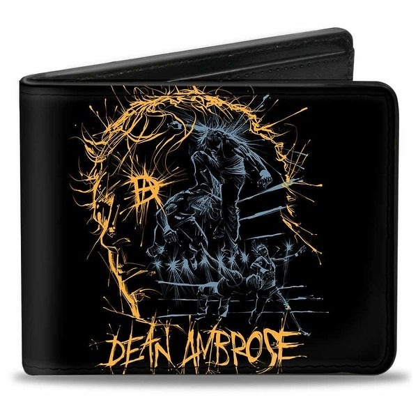 Dean Ambrose Foot Stomp Thoughts Black Gold Blue Bi Fold Wallet - One Size Fits most