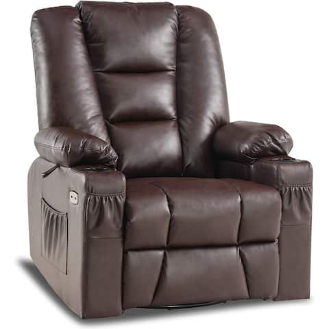 Mcombo Manual Swivel Glider Rocker Recliner Chair with Massage and Heat for Nursery Faux Leather 8036
