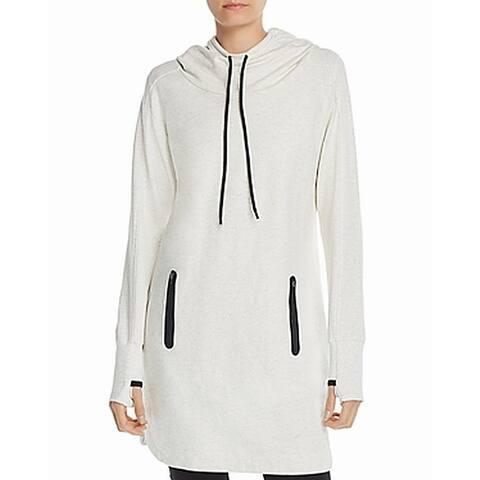Marc York Womens Sweatshirt Crew White Ivory Medium M Drawstring