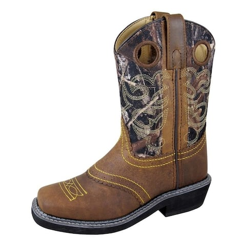 Smoky Mountain Boots Western Boys Pawnee Leather Crepe Brown