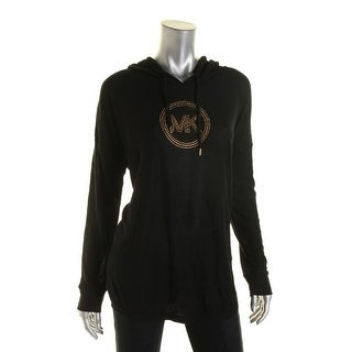 MICHAEL Michael Kors Womens Waffle Knit Embellished Hoodie