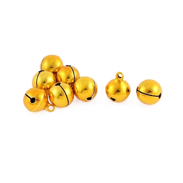 Christmas Tree Party Ornament Metal 14mm Ring Jingle Bells Gold Tone 8 Pcs