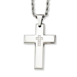 Stainless Steel Cross with CZs Pendant 24in Necklace (3 mm) - 24 in