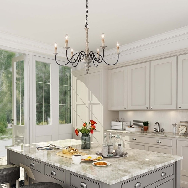 """Farmhouse 6-Light Persian White French Country Chandelier Rustic Wood Island Lighting for Kitchen - D37""""*H28"""""""
