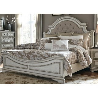 Link to Magnolia Manor Antique White Upholstered Bed Similar Items in Dining Room & Bar Furniture