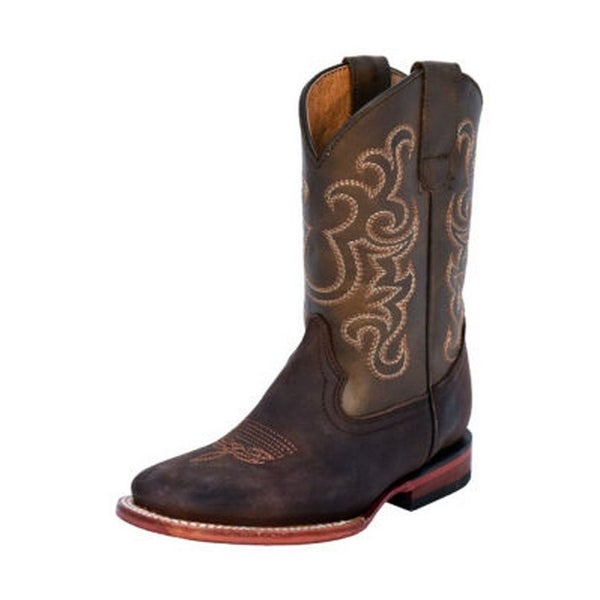 Ferrini Western Boots Boys Girls Maverick Pull Tabs Chocolate