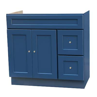 36x21 Blue Shaker Bathroom Vanity with Drawers