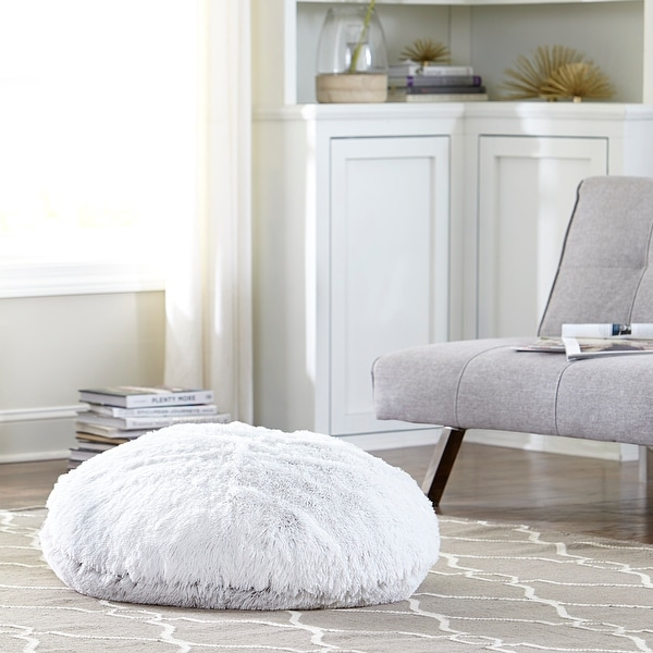 Tempo Home Polar Pouf - Oversized Faux Fur Round Floor Cushion. Opens flyout.