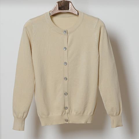 Women's Round Neck Long Sleeves Refreshing Slim Pearl Button Sweater Coat