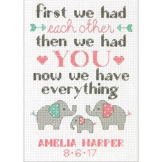 """Family Birth Record Counted Cross Stitch Kit-5""""X7"""" 14 Count"""