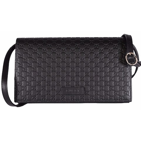 c7adb279687 Gucci Women's Black Leather Crossbody Shoulder Wallet Bag 466507 1000 - One  size
