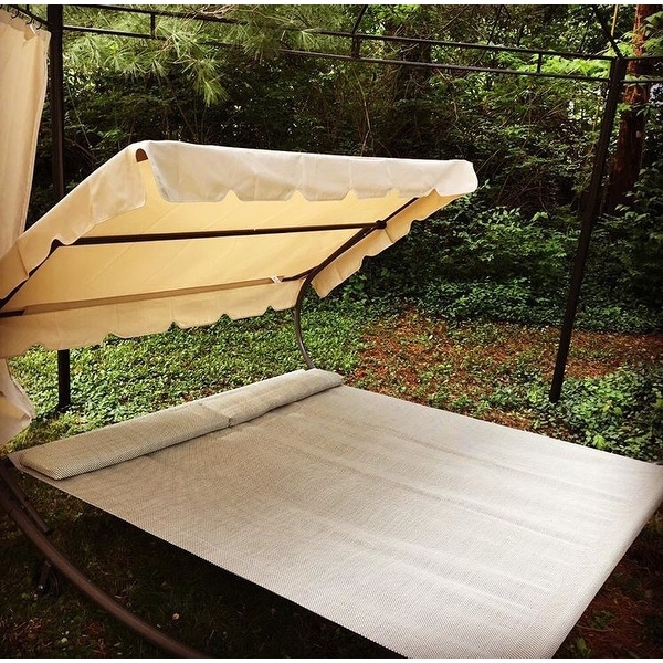 Shop Abba Patio Outdoor Tan Portable Double Chaise Lounge Shaded And  Wheeled Hammock Bed   On Sale   Free Shipping Today   Overstock.com    12542252