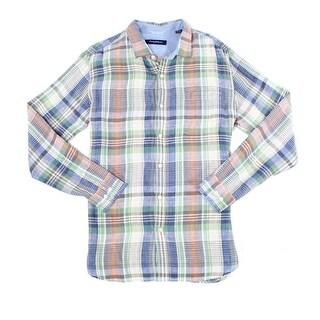 Tommy Bahama NEW Blue Green Mens Size Medium M Button Down Linen Shirt