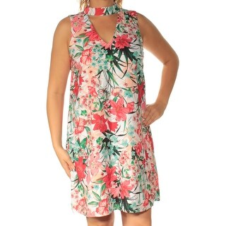 Womens Red White Floral Sleeveless Above The Knee Shift Dress Size: L