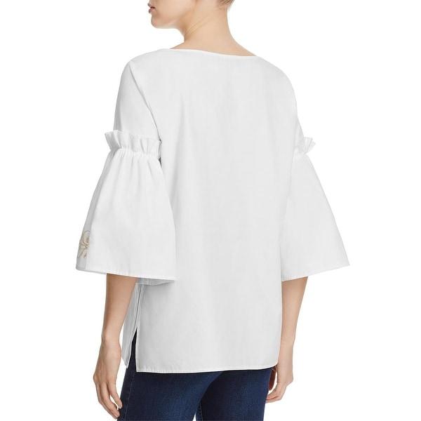 Karen Kane Womens Embroidered Bell Sleeve Top