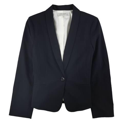 Tahari Womens Professional One Button Blazer Jacket, Blue, 12