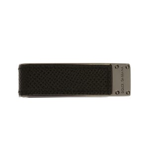 Dolce & Gabbana Green Leather Silver Brass Money Clip - One size