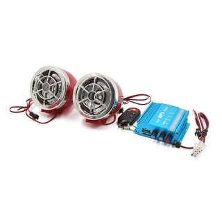 Red Blue Motorcycle Anti Theft Alarm MP3 Audio Amplifier Speaker Player Set