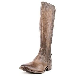 Frye Melissa Scrunch Women Round Toe Leather Brown Knee High Boot