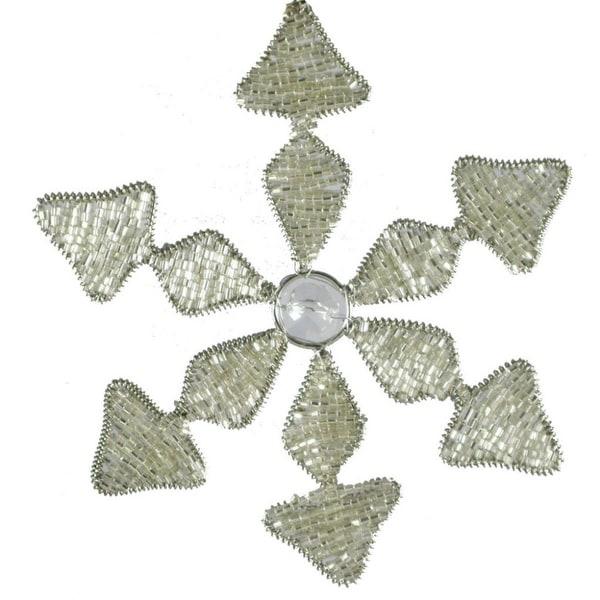 "6"" Intricate Elegant Silver Beaded Winter Snowflake Christmas Ornament"