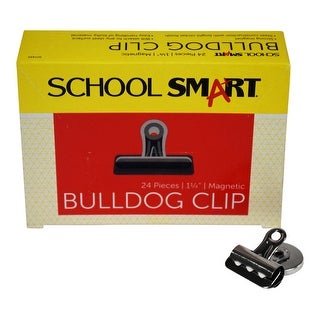 School Smart Rust Resistant Magnetic Clip, 1-1/4 in, Steel, Nickel Plated, Pack of 24