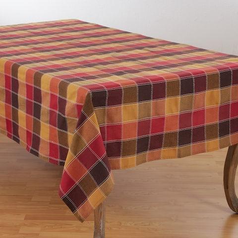 Stitched Plaid Cotton Blend Tablecloth