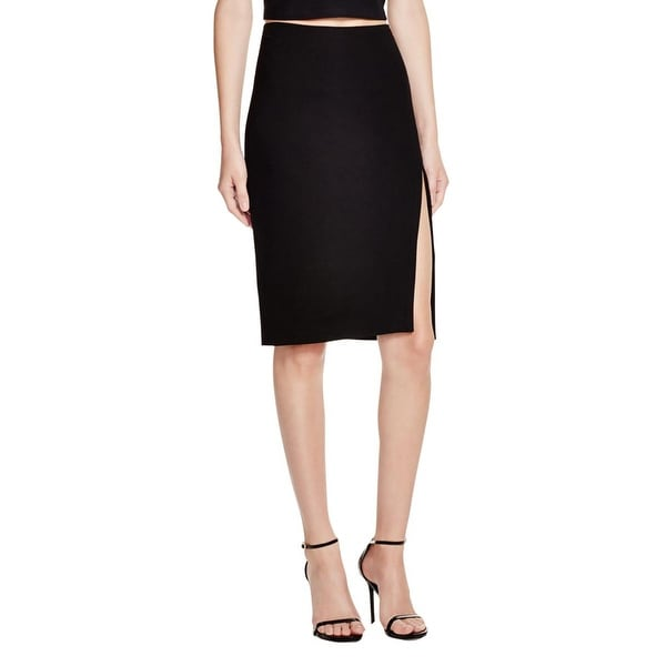 Olivaceous Womens Pencil Skirt Side Slit Knee-Length