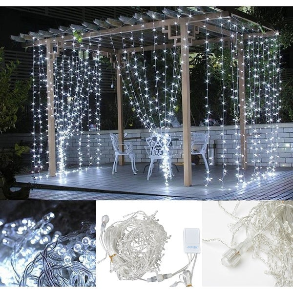 image 164ft2ft led curtain icicle lights string connectable christmas white