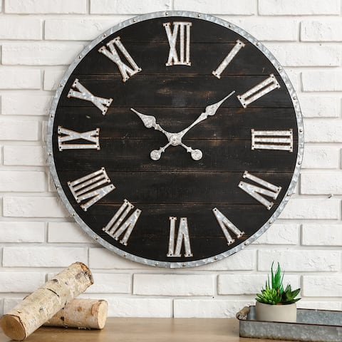 "Glitzhome 27.56""D Oversized Farmhouse Wooden and Galvanized Wall Clock"