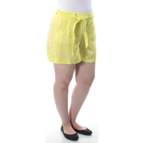 KIIND OF Womens Yellow Belted Short Size 14