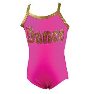 "Reflectionz Girls Hot Pink Rhinestone ""Dance"" Detail Tank Leotard 8"