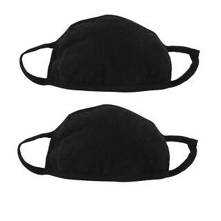 Men Women Outdoor Anti-Dust Mouth Nose Muffle Earloop Face Mask Black 2Pcs