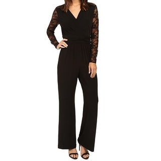 Tahari By ASL NEW Black Solis Lace Sleeve Women's Size 4 Jumpsuit