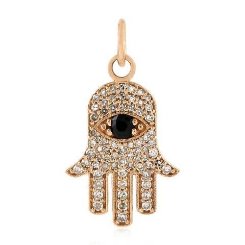 Artisan 18Kt Gold Diamond Hamsa Charms Black Spinel Gemstone Jewelry