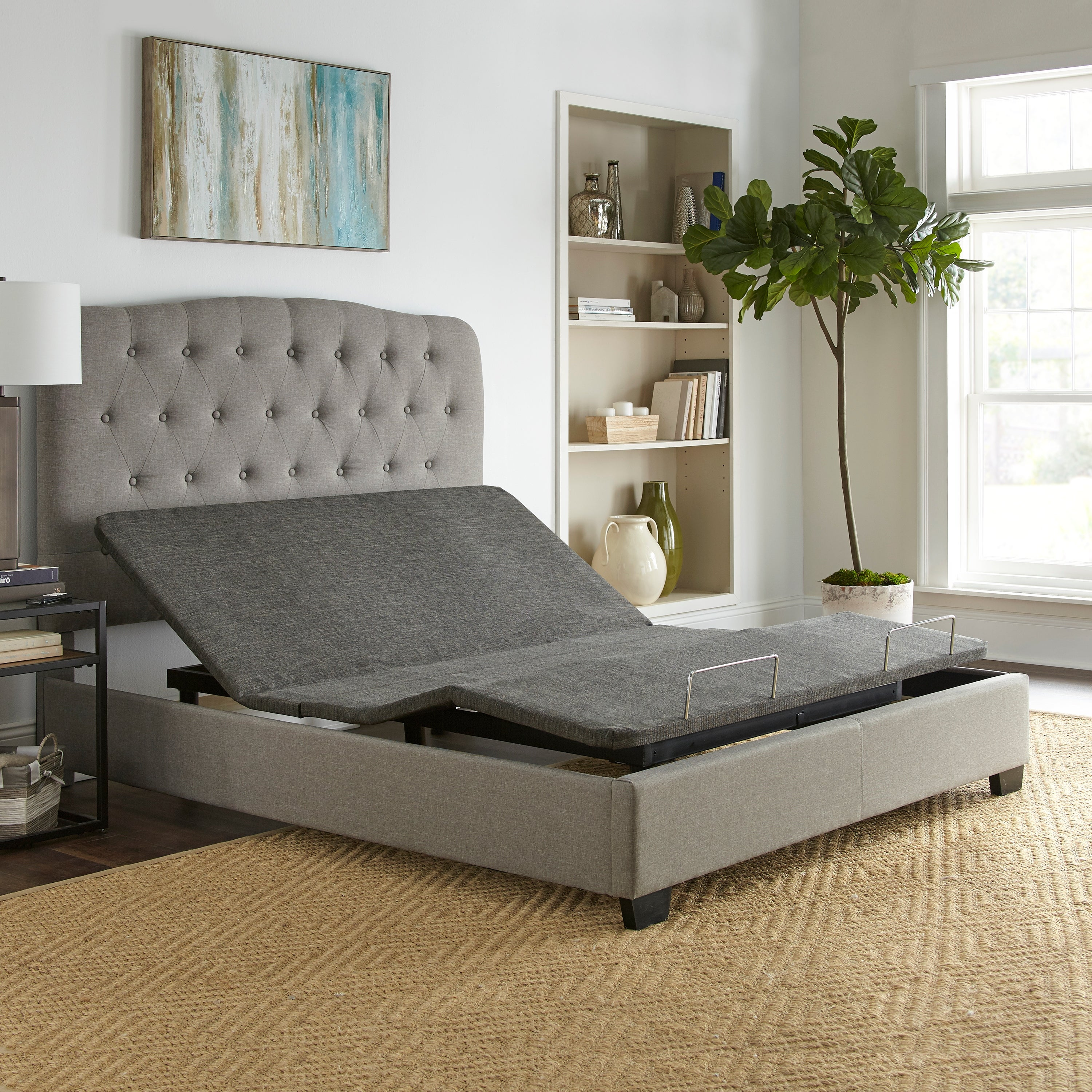 Sleep Sync Adjustable Bed Base Upholstered Queen Wireless Remote On Sale Overstock 27123430