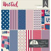 """Authentique Double-Sided Cardstock Pad 12""""X12"""" 24/Pkg-United, 12 Designs/2 Each"""