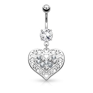 Tribal Heart Filigree Edged Crystal Pave Heart Dangle Surgical Steel Navel Ring - 14GA (Sold Ind.)