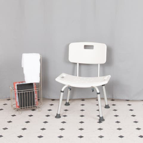 Tool-Free 300 Lb. Capacity, Adjustable White Bath & Shower Chair with Back