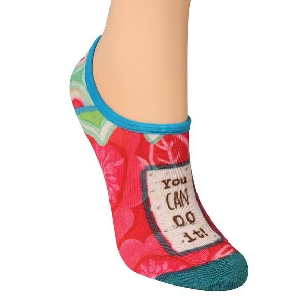 Demdaco Women's Message No-Show Socks - Chatty Girl Print Inspirational Novelty Footwear - One size