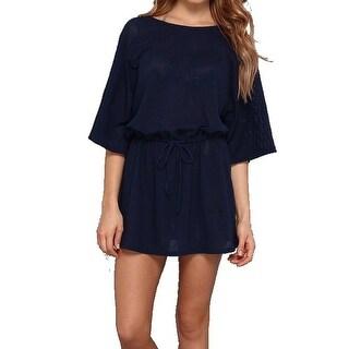 Allen Allen NEW Blue Women's Size Medium M Mesh Drawstring Shirt Dress