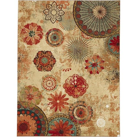 Mohawk Home Alexa Floral Medallion Indoor/Outdoor Area Rug