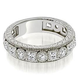 1.50 cttw. 14K White Gold Antique Round And Princess Bezel Diamond Ring