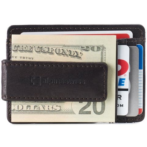 Alpine Swiss RFID Harper Money Clip Front Pocket Wallet For Men Comes in a Gift Box - One Size