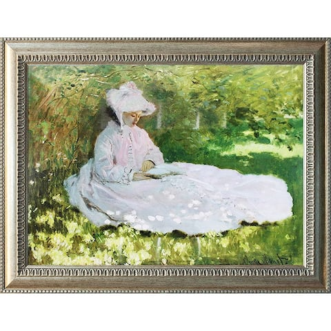 A Woman Reading by Claude Monet Oil Painting Silver Frame 29 x 23 Framed Painting