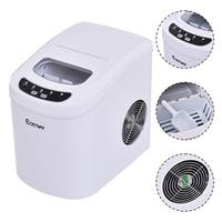 Costway White Portable Compact Electric Ice Maker Machine Mini Cube 26lb/Day